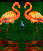 Flamingo Prints - Three Birds Print by Anthony Caruso