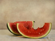 Fruit Still Life Metal Prints - Three Bites Of Summer Metal Print by Priska Wettstein