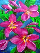 Plumeria Paintings - Three Blooms in Pink by Jerri Grindle
