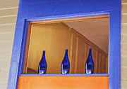 Shelburne Falls Prints - Three Blue Bottles Print by Tom Singleton