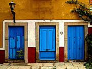 Michael Photo Framed Prints - Three Blue Doors 1 Framed Print by Olden Mexico