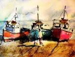 Trawler Painting Posters - Three boats Poster by Steven Ponsford
