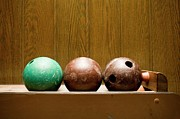 Wood Grain Framed Prints - Three Bowling Balls Framed Print by Benne Ochs