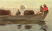 Shirt Paintings - Three Boys in a Dory by Winslow Homer