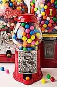 Round Framed Prints - Three bubble gum machines Framed Print by Garry Gay