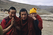 Clergy Photo Prints - Three Buddhist Lamas In Gansu Province Print by David Edwards