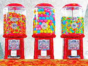 Cans Digital Art Prints - Three Candy Machines Print by Wingsdomain Art and Photography