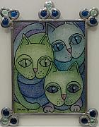Animals Glass Art - Three Cats  2008 by S A C H A -  Circulism Technique