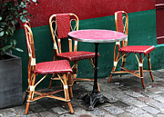 Paris Cafe Scene Posters - Three Chairs in Paris Poster by John Rizzuto