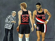Nba Champs Prints - Three Champs Print by Henry Frison