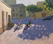 Village Paintings - Three children with bicycles in Spain by Andrew Macara