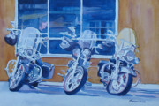 Helicopters Paintings - Three Choppers by Jenny Armitage