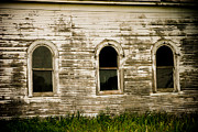 Rural Southern Oklahoma Prints - Three Church Windows Print by Toni Hopper