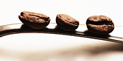 Kaffee Posters - Three coffee beans Poster by Falko Follert