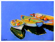 Reflections Pastels Posters - Three Colourful Boats Poster by Sue Gardner