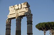Ruins Photos - Three columns and architrave Temple of Castor and Pollux Forum Romanum Rome by Bernard Jaubert