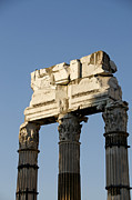 Ancient Ruins Prints - Three columns and architrave Temple of Castor and Pollux Forum Romanum Rome Italy. Print by Bernard Jaubert