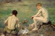 Dog Swimming Paintings - Three Companions by Henry Scott Tuke