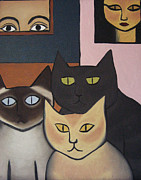 Cool Cats Paintings - Three Cool Cats by Lana Cheng