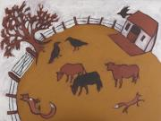 Iron Oxide Paintings - Three cows by Sophy White