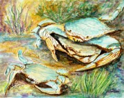 Sealife And Beaches - Three Crabs by Pauline Ross