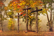 Tennessee Barn Prints - Three Crosses Print by Debra and Dave Vanderlaan