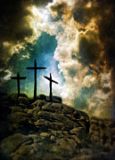 Crucifixion Photo Acrylic Prints - Three Crosses on a Rocky Hill Acrylic Print by Jill Battaglia