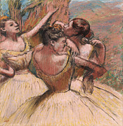 Dresses Pastels Prints - Three Dancers Print by Edgar Degas