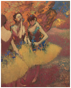 Ballet Dancers Paintings - Three Dancers in Yellow Skirts by Edgar Degas