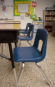Grade School Prints - Three Desks in a Classroom Print by Will & Deni McIntyre