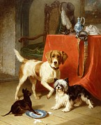 Table Cloth Painting Prints - Three dogs Print by Conradyn Cunaeus