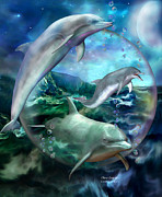 Animal Mixed Media Metal Prints - Three Dolphins Metal Print by Carol Cavalaris