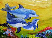 Fish Underwater Paintings - Three Dolphins by Rich Fotia