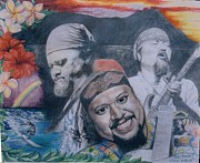 Willie Drawings - Three Faces of Willie K by Anne Provost