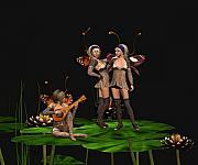 Three Fairies At A Pond Print by John Junek