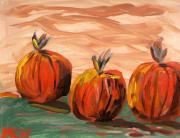 Warm Tones Drawings - Three Favorites by Mary Carol Williams