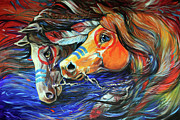 Abstract Equine Prints - Three Feathers Indian War Ponies Print by Marcia Baldwin