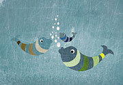 Textured Digital Art Prints - Three Fish In Water Print by Jutta Kuss