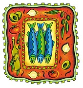 Cooking Ingredient Digital Art Posters - Three Fish Poster by Nadia Richie Studio