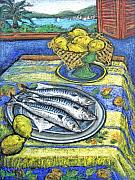 Table Cloth Drawings - Three Fish with View by Patricia Clements