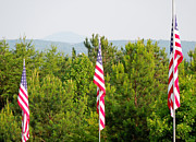 Lives Lost Framed Prints - Three Flags and Kennesaw Mountain Framed Print by Renee Trenholm