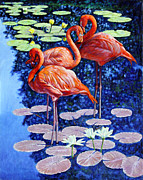 Flamingo Paintings - Three Flamingos in Lily Pond by John Lautermilch