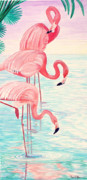 Flamingos Paintings - Three Flamingos by Pauline Ross