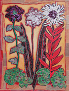 Diane Fine Metal Prints - Three Flowers Metal Print by Diane Fine