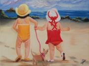 Dog Play Beach Paintings - Three for the Beach by Joni McPherson