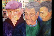 France Mixed Media Originals - Three Frenchmen by Barbara Cornelius