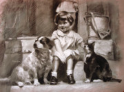 Drawing Pastels Originals - Three Friends On The Doorstep by Ylli Haruni