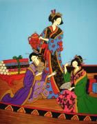 Jug Painting Originals - Three Geishas by Stephanie Moore