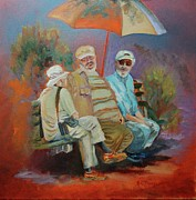 Chatting Painting Originals - Three Gents in the Park by Barbara C Thompson