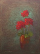 Geraniums Pastels - Three Geraniums by Tom Forgione
